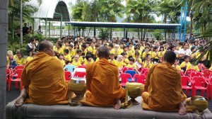 Children listening to monks in Hua Hin, Thailand