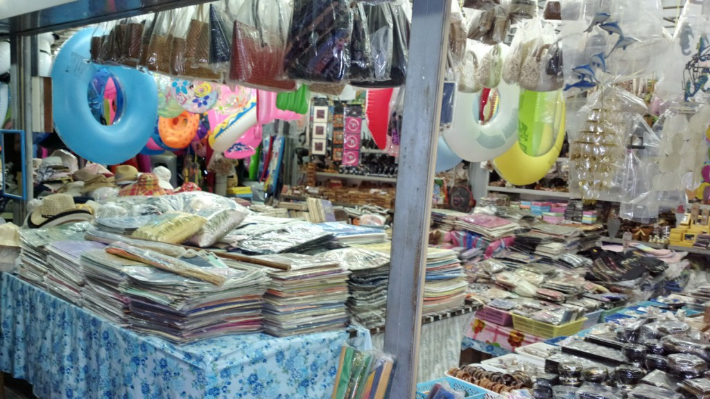 Souvenir shop in the Hua Hin Bazaar with locally made products.