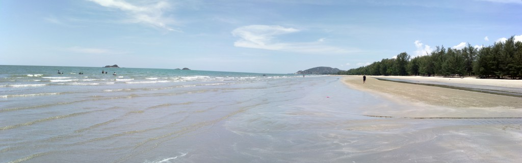 Panorama of Suan Son Beach looking south. Hua Hin, Thailand