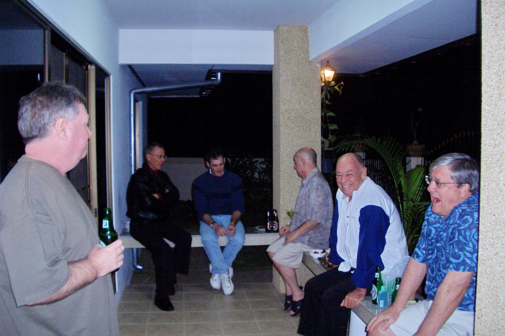 Jim Lawrie at a housewarming on a very cold night in Hua Hin, Thailand