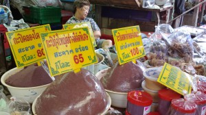 Shrimp paste (kapi) for sale at the Maeklong Railway Market, Samut Songkhram, Thailand